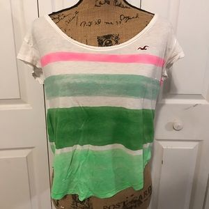 Hollister striped colorblock T shirt Size M